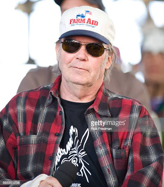 Singer Neil Young at the press conference prior to the Farm Aid concert at the Comcast Center in Mansfield