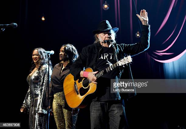 Singer Neil Young performs onstage at the 25th anniversary MusiCares 2015 Person Of The Year Gala honoring Bob Dylan at the Los Angeles Convention...