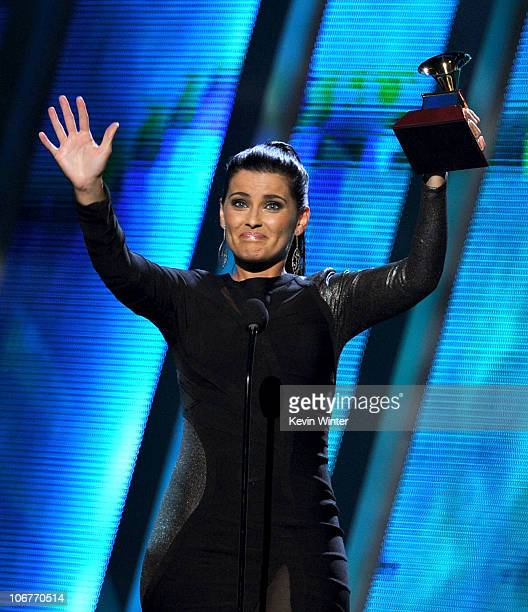 Singer Nelly Furtado accepts the Best Female Pop Vocal Album award onstage during the 11th annual Latin GRAMMY Awards at the Mandalay Bay Events...