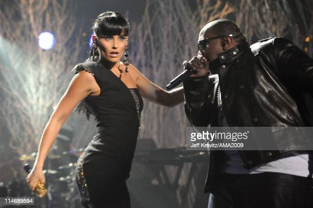 Singer Nelly Furtado and rapper Timbaland perform onstage at the 2009 American Music Awards at Nokia Theatre LA Live on November 22 2009 in Los...
