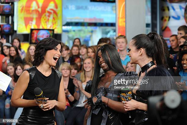 Singer Nelly Furtado, Fritz Helder and Pastel Super Nova of Fritz Helder and The Phantoms Visit MuchOnDemand at MuchMusic HQ on May 26, 2009 in...