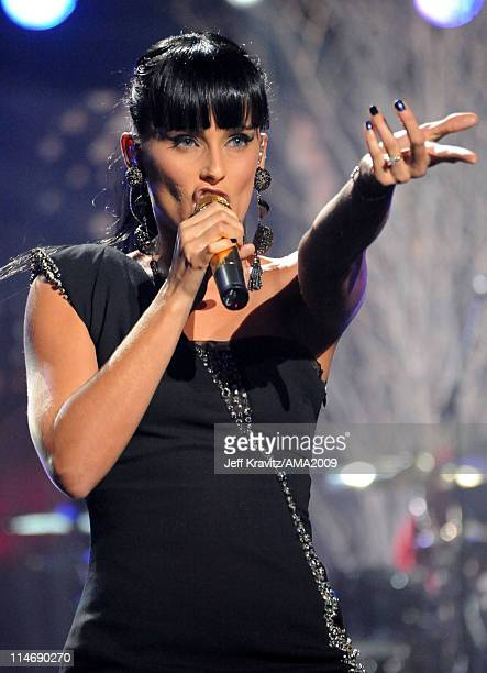 Singer Nelly Furtado performs onstage at the 2009 American Music Awards at Nokia Theatre LA Live on November 22 2009 in Los Angeles California