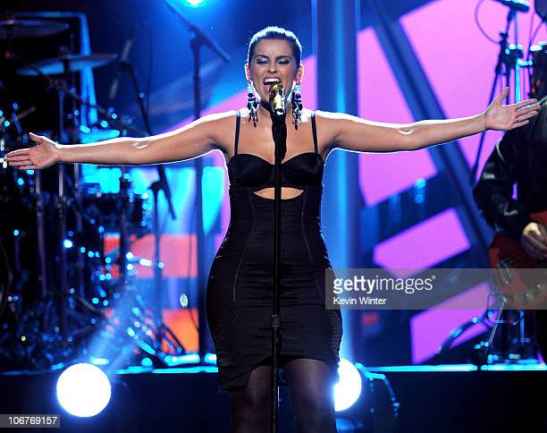 Singer Nelly Furtado performs onstage during the 11th annual Latin GRAMMY Awards at the Mandalay Bay Events Center on November 11 2010 in Las Vegas...