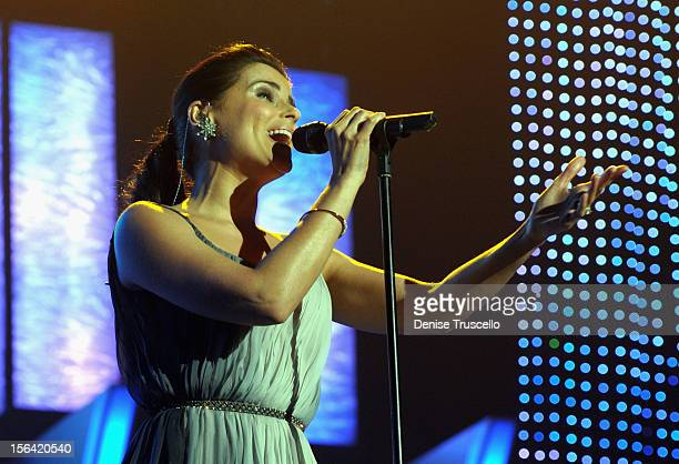 Singer Nelly Furtado performs onstage during the 2012 Person of the Year honoring Caetano Veloso at the MGM Grand Garden Arena on November 14 2012 in...