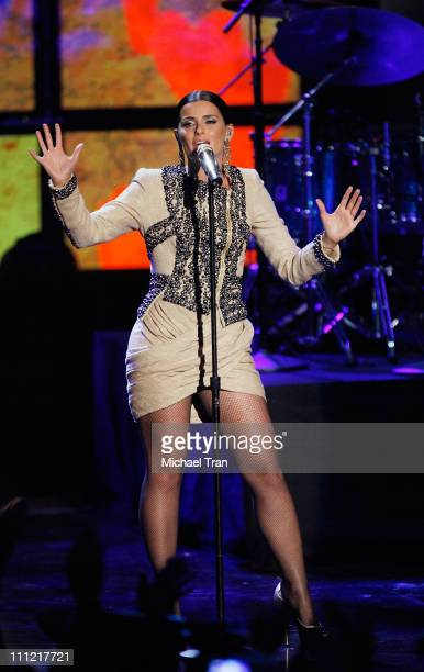 "Singer Nelly Furtado performs onstage during the ""Los Premios MTV 2009"" - Latin America Awards held at Gibson Amphitheatre on October 15, 2009 in..."