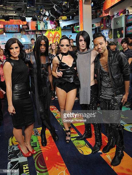 Singer Nelly Furtado with Fritz Helder and The Phantoms Visit MuchOnDemand at MuchMusic HQ on May 26, 2009 in Toronto, Canada.
