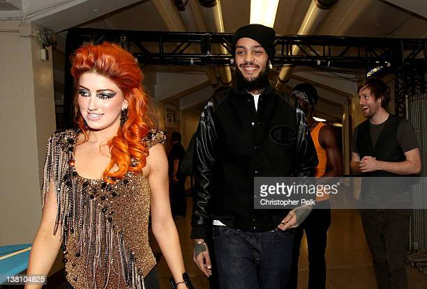 Singer Neon Hitch and singer Travie McCoy of Gym Class Heroes attend VH1's Super Bowl Fan Jam at Indiana State Fairgrounds Pepsi Coliseum on February...