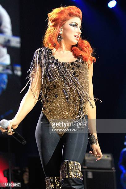 Singer Neon Hitch performs onstage during VH1's Super Bowl Fan Jam at Indiana State Fairgrounds Pepsi Coliseum on February 2 2012 in Indianapolis...