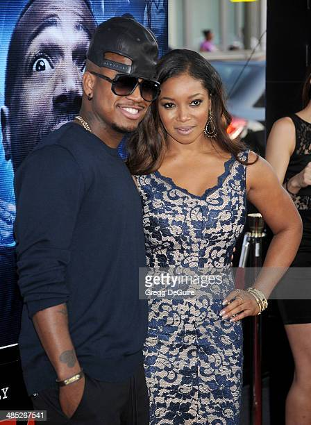 """Singer Ne-Yo and actress Tamala Jones arrive at the Los Angeles premiere of """"A Haunted House 2"""" at Regal Cinemas L.A. Live on April 16, 2014 in Los..."""