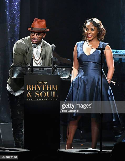 Singer NeYo and ASCAP SVP of Membership Nicole George Middleton speak onstage during the 2016 ASCAP Rhythm Soul Awards at the Beverly Wilshire Four...