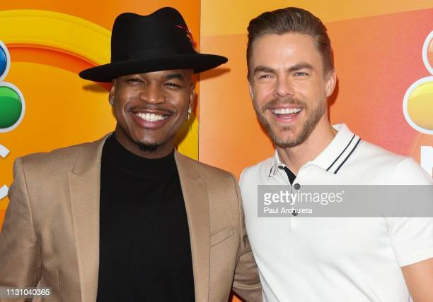 Singer NeYo and Dancer / TV Personality Derek Hough attend the NBC's Los Angeles midseason press junket at NBC Universal Lot on February 20 2019 in...