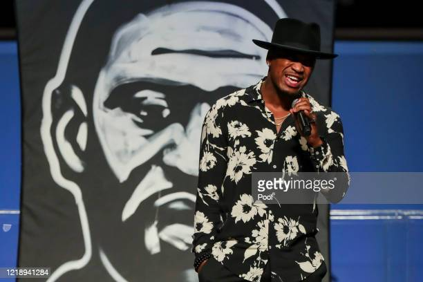 Singer NeYo performs a song during the funeral for George Floyd at The Fountain of Praise church on June 9 2020 in Houston Texas Floyd died after...