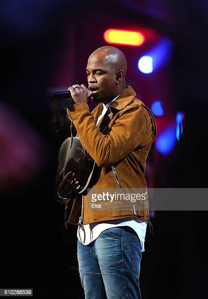 Singer NeYo performs the National Anthem before the NBA AllStar Game 2016 at the Air Canada Centre on February 14 2016 in Toronto Ontario NOTE TO...