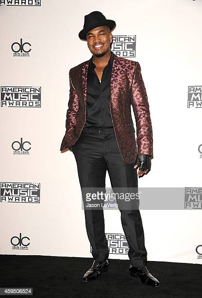 Singer NeYo poses in the press room at the 2014 American Music Awards at Nokia Theatre LA Live on November 23 2014 in Los Angeles California