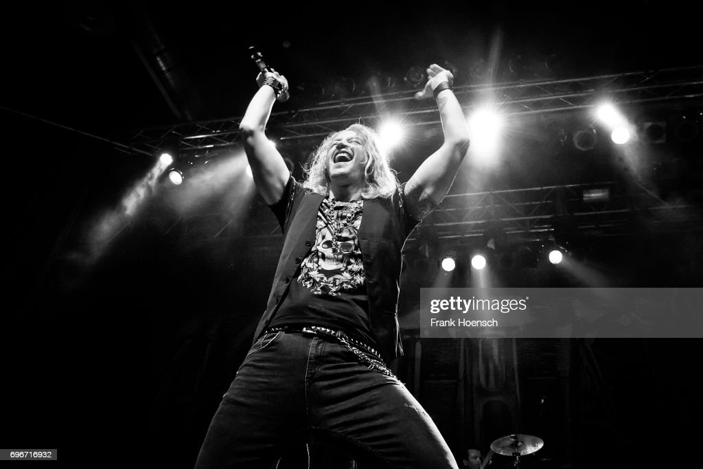 Singer Nic Maeder of the Swiss band Gotthard performs live on stage during a concert at the Huxleys on June 16, 2017 in Berlin, Germany.
