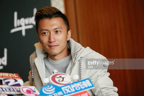 Singer Nicholas Tse attends a news conference after Chinese internet giant Tencent and Sony Music Entertainment signing distribution partnership on...