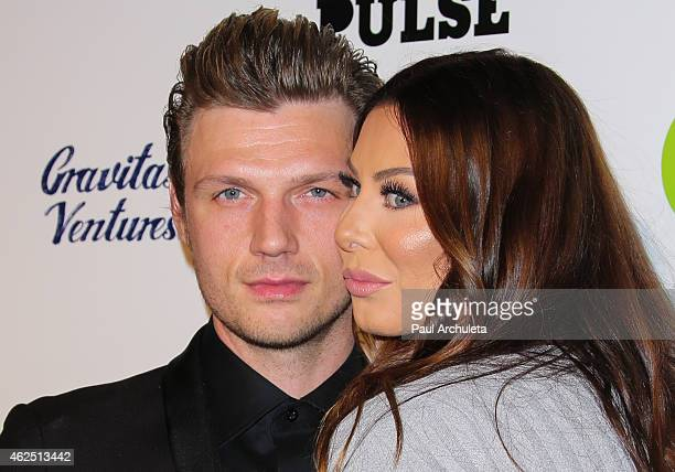 Singer Nick Carter and his Wife Lauren Kitt attend the premiere of the Backstreet Boys Show 'Em What You're Made Of at the ArcLight Cinemas Cinerama...