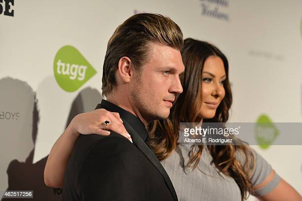 Singer Nick Carter and Lauren Kitt attend the premiere of Gravitas Ventures' Backstreet Boys Show 'Em What You're Made Of at on January 29 2015 in...