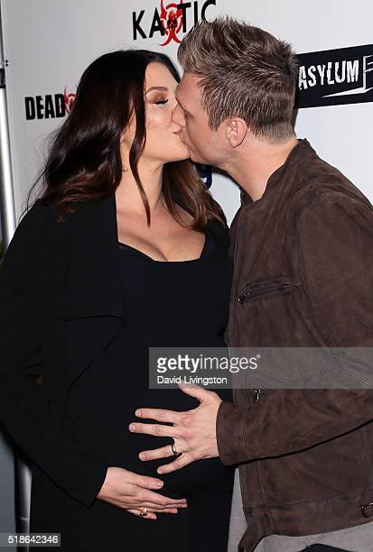 Singer Nick Carter and wife Lauren Kitt attend the premiere of Syfy's Dead 7 at Harmony Gold on April 1 2016 in Los Angeles California
