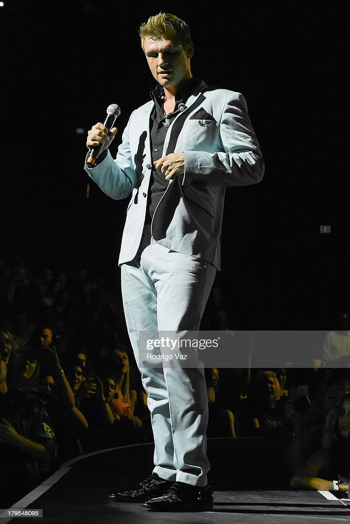 Singer Nick Carter of Backstreet Boys performs at Backstreet Boys In Concert at Gibson Amphitheatre on September 4, 2013 in Universal City, California.
