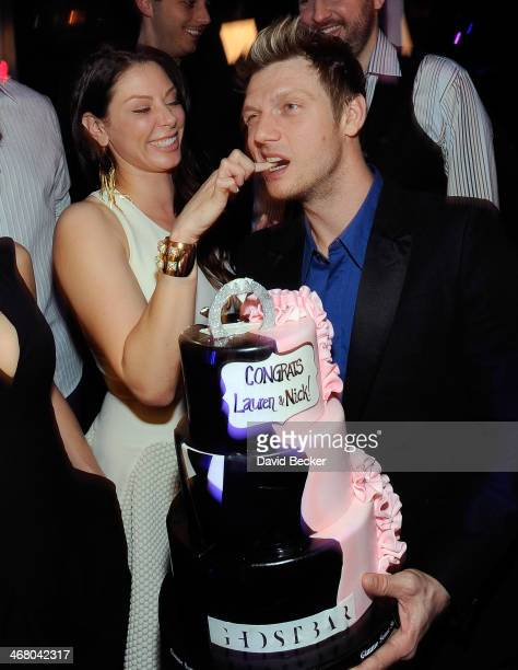 Singer Nick Carter of the Backstreet Boys and his fiancee Lauren Kitt celebrate their coed bachelor and bachelorette party at Ghostbar at the Palms...