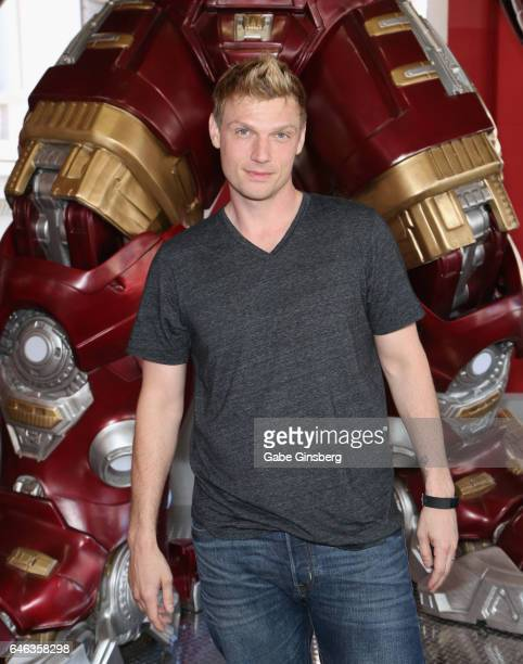 Singer Nick Carter of the Backstreet Boys attends the unveiling of Marvel's Hulkbuster armor wax figure at Madame Tussauds Las Vegas at The Venetian...