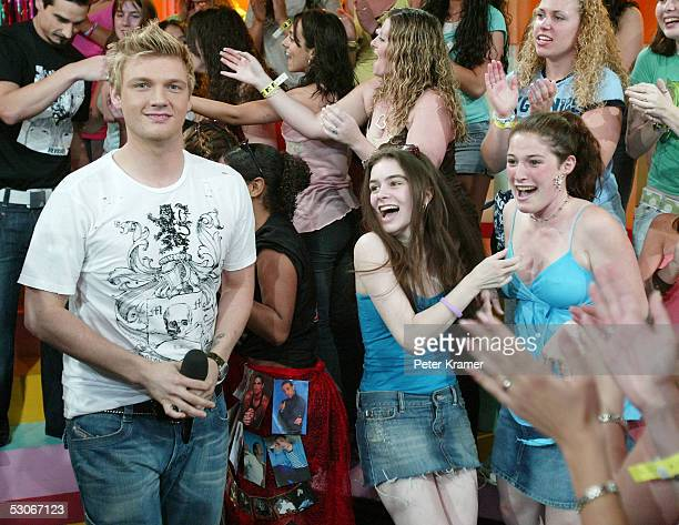 Singer Nick Carter of The Backstreet Boys makes an appearance on MTV's Total Request Live on June 14 2005 in New York City