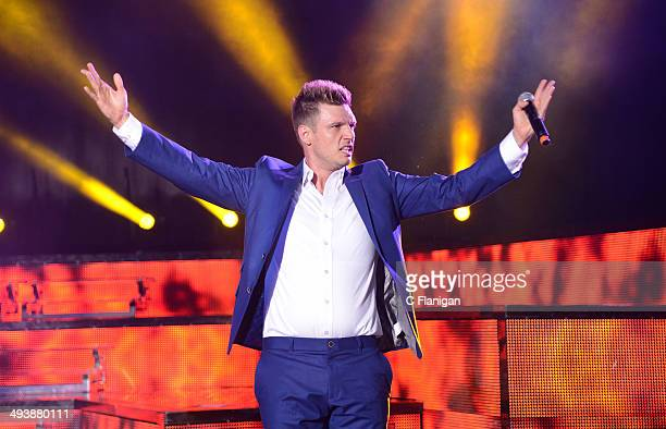 Singer Nick Carter of the Backstreet Boys performs during the 'In a World Like This' summer tour at Shoreline Amphitheatre on May 25 2014 in Mountain...