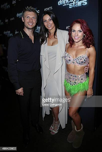 Singer Nick Carter wife Lauren Kitt and dancer/TV personality Sharna Burgess attend 'Dancing with the Stars' Season 21 at CBS Televison City on...