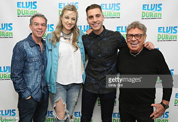 Singer Nick Fradiani poses with host Elvis Duran Bethany Watson and Uncle Johnny during his visit to The Elvis Duran Z100 Morning Show at Z100 Studio...