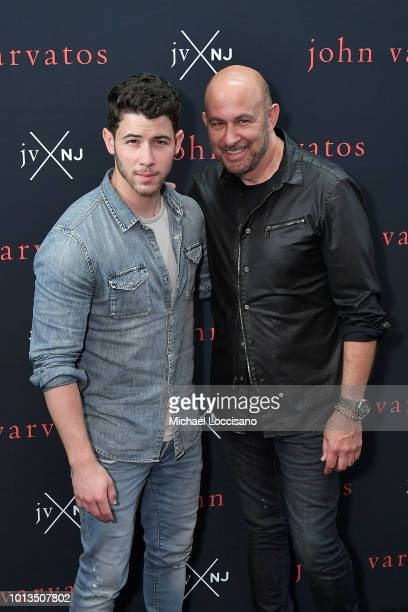 Singer Nick Jonas and designer John Varvatos launch their new fragrance JVxNJ at Mission NYC nightclub on August 8 2018 in New York City