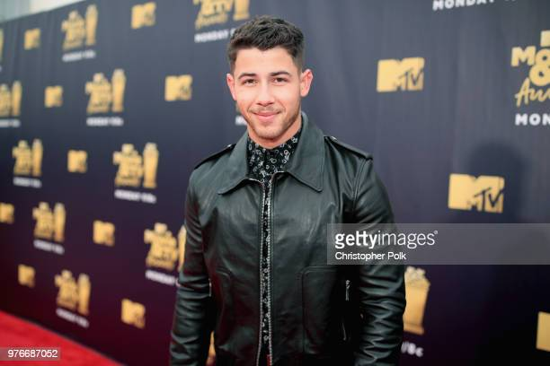 Singer Nick Jonas attends the 2018 MTV Movie And TV Awards at Barker Hangar on June 16 2018 in Santa Monica California