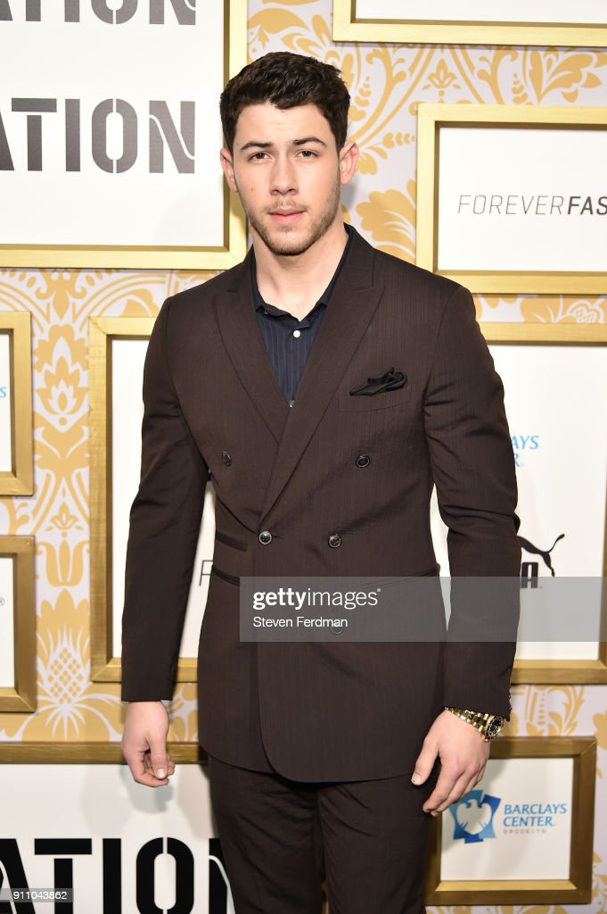 Singer Nick Jonas attends the 2018 Roc Nation Pre-Grammy Brunch at One World Trade Center on January 27, 2018 in New York City.