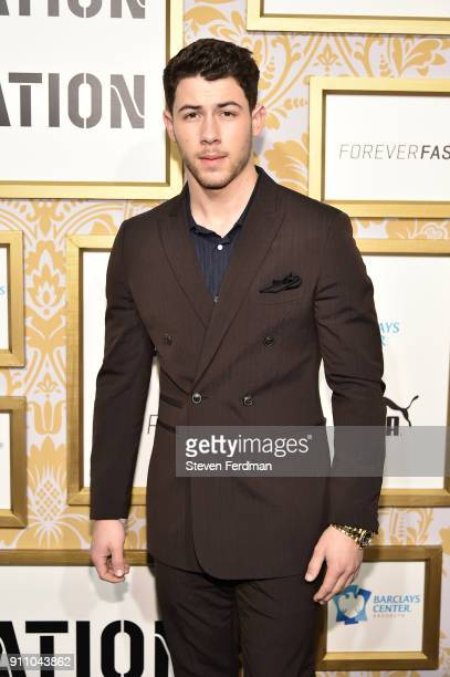 Singer Nick Jonas attends the 2018 Roc Nation PreGrammy Brunch at One World Trade Center on January 27 2018 in New York City