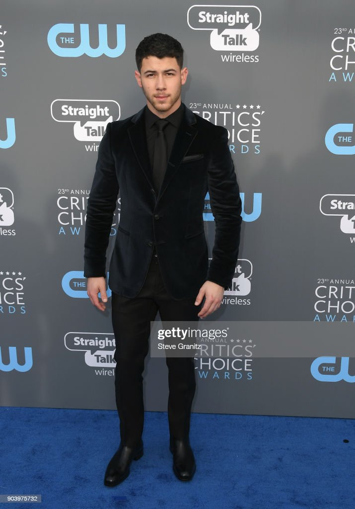 Singer Nick Jonas attends The 23rd Annual Critics' Choice Awards at Barker Hangar on January 11, 2018 in Santa Monica, California.