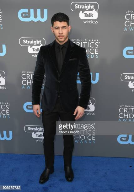 Singer Nick Jonas attends The 23rd Annual Critics' Choice Awards at Barker Hangar on January 11 2018 in Santa Monica California