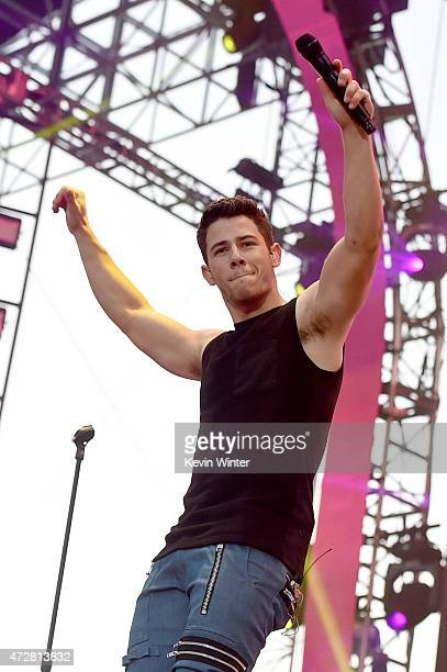 Singer Nick Jonas performs onstage during 1027 KIIS FM's 2015 Wango Tango at StubHub Center on May 9 2015 in Los Angeles California