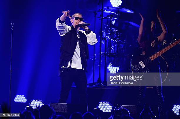 Singer Nick Jonas performs onstage during 1035 KISS FM's Jingle Ball 2015 presented by Capital One at Allstate Arena on December 16 2015 in Chicago...