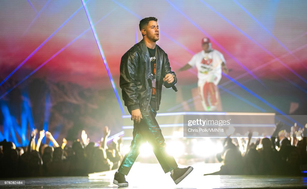 Singer Nick Jonas performs onstage during the 2018 MTV Movie And TV Awards at Barker Hangar on June 16, 2018 in Santa Monica, California.