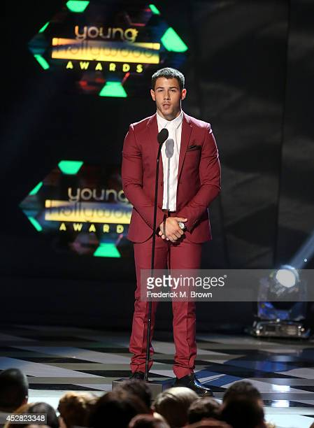Singer Nick Jonas speaks onstage at the 2014 Young Hollywood Awards brought to you by Samsung Galaxy at The Wiltern on July 27 2014 in Los Angeles...