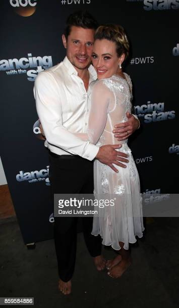 Singer Nick Lachey and dancer Peta Murgatroyd attend Dancing with the Stars season 25 at CBS Televison City on October 9 2017 in Los Angeles...