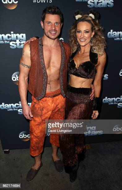 Singer Nick Lachey and dancer Peta Murgatroyd pose at Dancing with the Stars season 25 at CBS Televison City on October 16 2017 in Los Angeles...