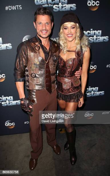 Singer Nick Lachey and dancer Peta Murgatroyd pose at Dancing with the Stars season 25 at CBS Televison City on October 23 2017 in Los Angeles...