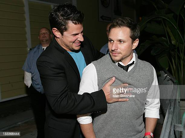Singer Nick Lachey and TV Personality Drew Lachey arrive at the Super Skins Kickoff Party hosted by Nick Lachey and Jimmie Johnson at the Hula Bay...