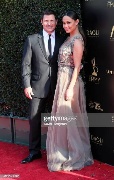 Singer Nick Lachey and TV personality Vanessa Lachey attend the 45th Annual Daytime Creative Arts Emmy Awards at Pasadena Civic Auditorium on April...