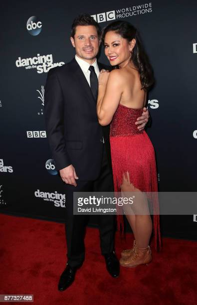 Singer Nick Lachey and wife TV personality Vanessa Lachey pose at 'Dancing with the Stars' season 25 finale at The Grove on November 21 2017 in Los...