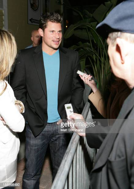 Singer Nick Lachey arrives at the Super Skins Kickoff Party hosted by Nick Lachey and Jimmie Johnson at the Hula Bay Club on January 30, 2009 in...