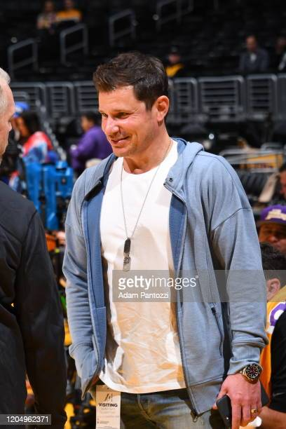 Singer, Nick Lachey attends a game between the Philadelphia 76ers and the Los Angeles Lakers on March 3, 2020 at STAPLES Center in Los Angeles,...