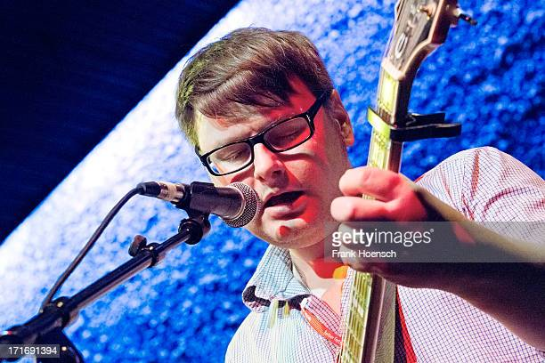Singer Nick Talbot of Gravenhurst performs live during a concert at the Festival Foreign Affairs at Haus der Berliner Festspiele on June 27, 2013 in...