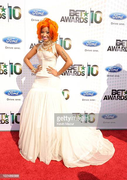 Singer Nicki Minaj arrives at the 2010 BET Awards held at the Shrine Auditorium on June 27 2010 in Los Angeles California